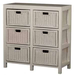CT 6 Drawer Rattan Buffet (White)