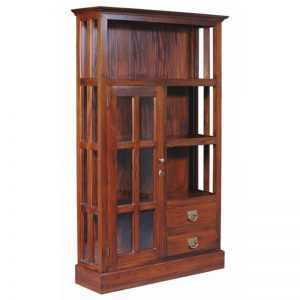 CT 1 Door 2 Drawer Glass Display Cabinet