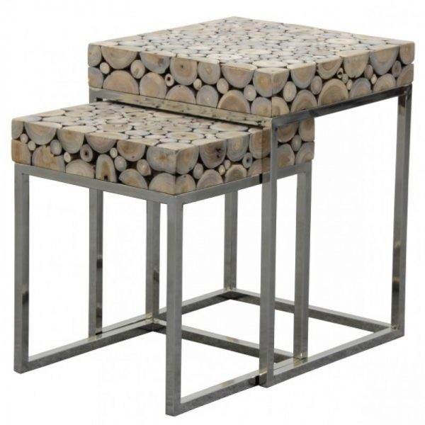 CT Recycled Driftwood Lamp Table Set with Stainless Steel Legs