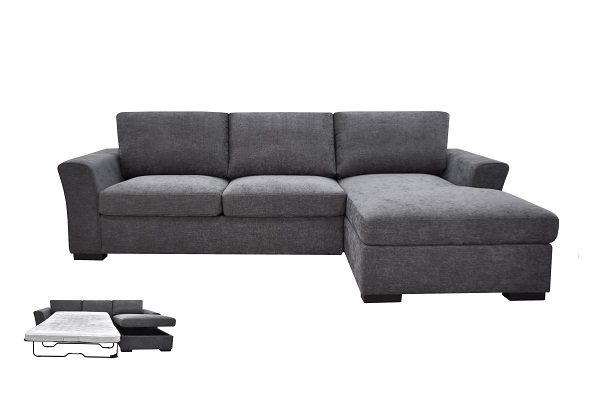 Chelsea Chaise With Sofa Bed - Storm