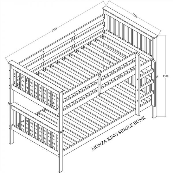 AI Monza Timber Bunk Bed in White