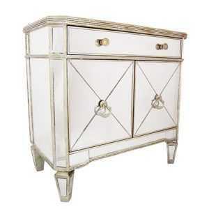 DA Antique Mirror 1 Drawer 2 Door Storage Cabinet