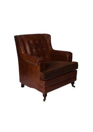 AF Browning Aged Leather & Velvet Armchair