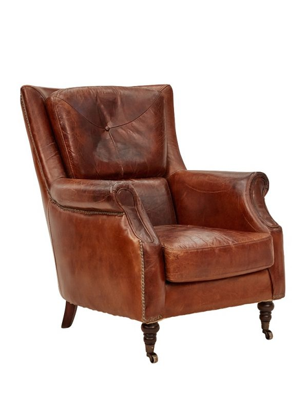 AF Springfield Aged Leather Armchair