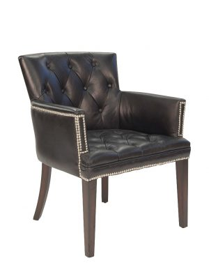 AF Ballard Worn Coal Black Leather Armchair