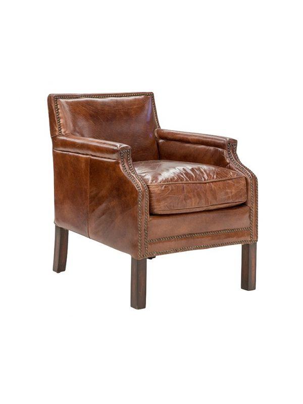AF Cigar Parlour Aged Leather Armchair
