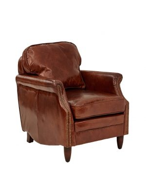 AF Decorous Club Aged Leather Armchair