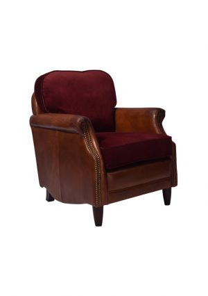 AF Constitution Wingback Aged Leather Armchair