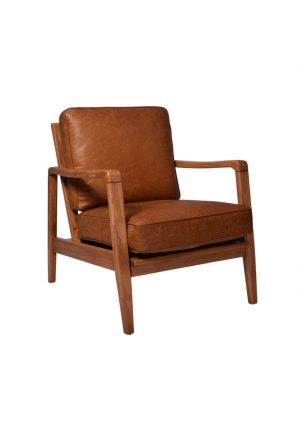 AF Fin Buckle Columbian Brown Aged Leather Armchair