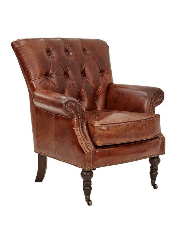 AF Harrington Aged Leather Armchair