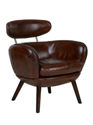 AF Stylist Cigar Aged Leather Armchair