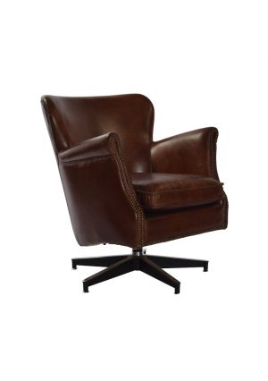 AF Revolver Cigar Aged Leather Armchair