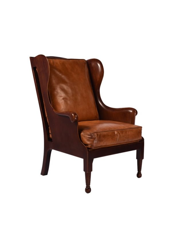The Lord Upton Chair is a traditional Wingback Armchair with a curved timber frame and soft leather seat and back cushion.