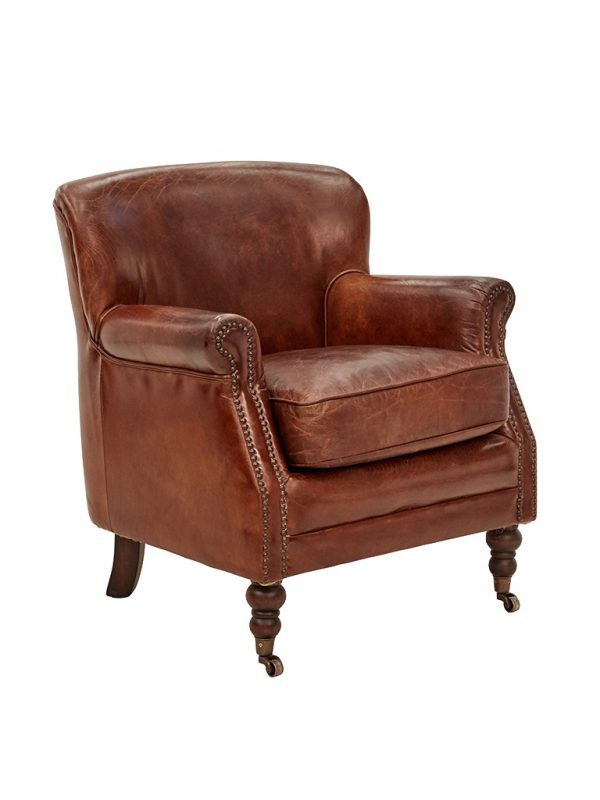 AF Mortimer Aged Leather Armchair