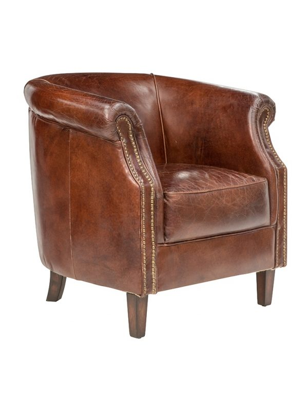 AF Mossberg Grande Tub Aged Leather Armchair