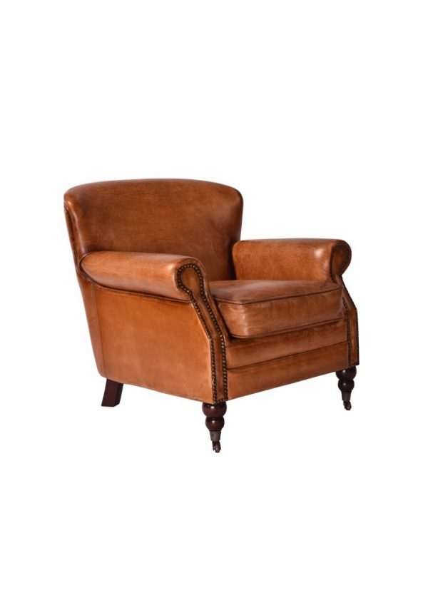 AF Norristown Antiqued Leather Armchair