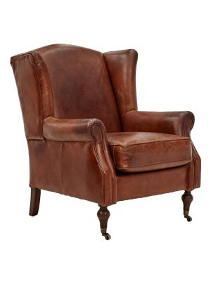 AF Union Street Wingback Aged Leather Armchair