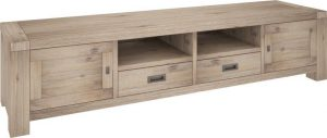 VI Batemans Bay Acacia Solid & Veneer TV Unit 2 Drawers & 2 Doors Ash Finish
