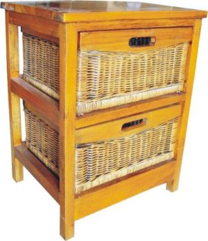 VI Brazil Solid Mango Wood Frame 2 Drawers Cabinet American Heritage Finish