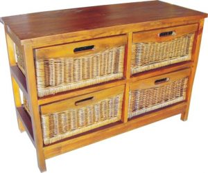 VI Brazil Solid Mango Wood Frame 4 Drawers Wide Cabinet American Heritage Finish