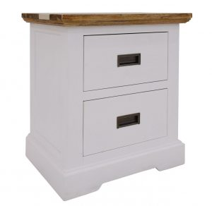 VI Denver Acacia Timber Bedside 2 Drawers Multi Colour Finish
