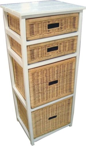 VI Manley Solid Mango Wood Frame 4 Drawers Tall Cabinet White Painted Finish