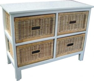 VI Manley Solid Mango Wood Frame 4 Drawers Wide Cabinet White Painted Finish