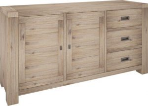 VI Batemans Bay Acacia Solid & Veneer Sideboard 3 Drawers 2 Doors Seat Ash Finish