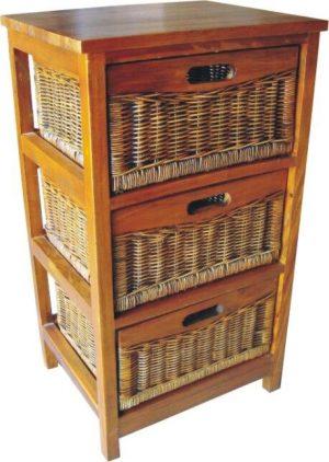 VI Brazil Solid Mango Wood Frame 3 Drawers Cabinet American Heritage Finish