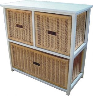 VI Manley Solid Mango Wood Frame 3 Drawers Cabinet White Painted Finish