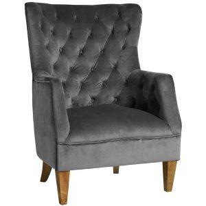 Sassionhome Lotus Velvet Charcoal Armchair