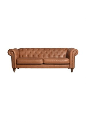 AF Eastside Camel Leather 3 Seater Sofa