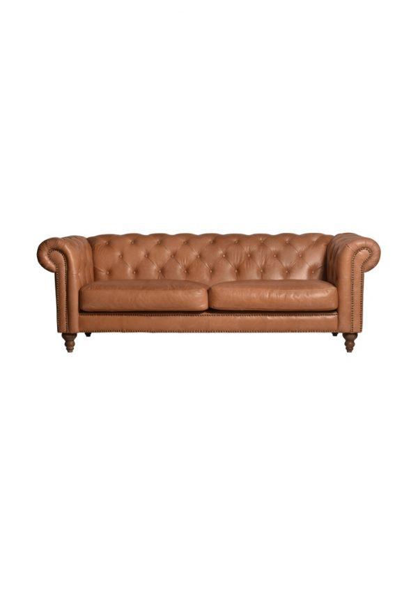AF Eastside Camel Leather 3 Seater Sofa