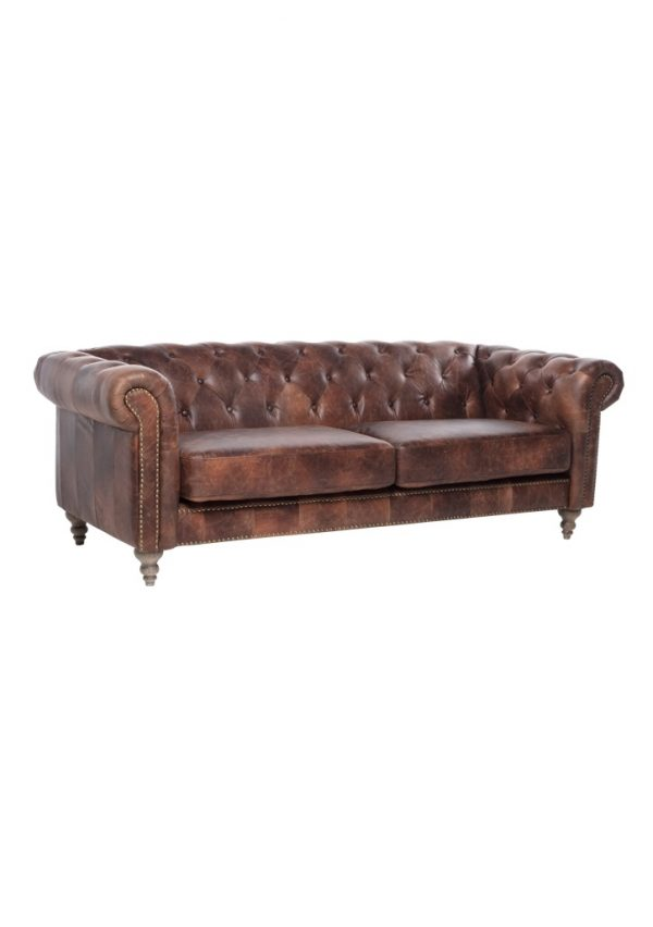 AF Eastside Chesterfield Leather 3 Seat Sofa