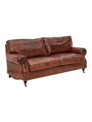 AF Kensington Aged Leather 3 Seater Sofa