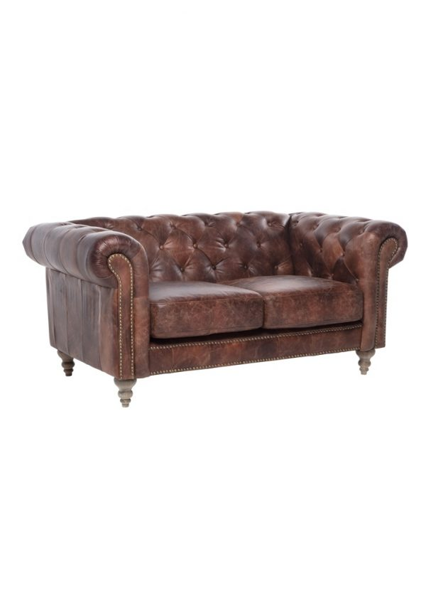 AF Eastside Chesterfield Leather 2 Seater Sofa