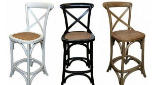 MF Cross-Back Oak Bar Stool