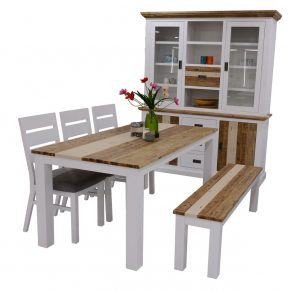 VI Denver Acacia Timber 200cm Dining Set Multi Colour Finish