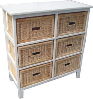 VI Manley Solid Mango Wood Frame 6 Drawers Tall Cabinet White Painted Finish