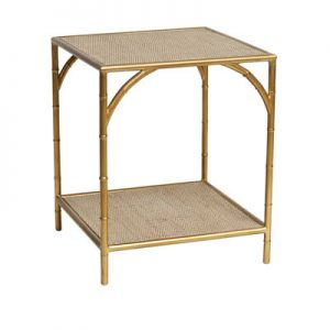 Sassionhome Manhattan Rattan Square Gold Side Table