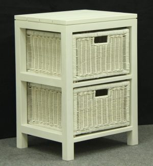 CT 2 Drawer Rattan Lamp Table white