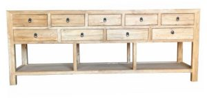 MF Chinese Antique Reproduction 9-Drawer Hall Table with Shelf